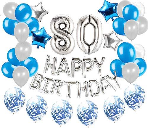 JeVenis 36 PCS Silver Blue 80th Birthday Decorations Artículos de fiesta 80 Globos de cumpleaños Happy Birthday Balloon Banner 80 Decoraciones de cumpleaños