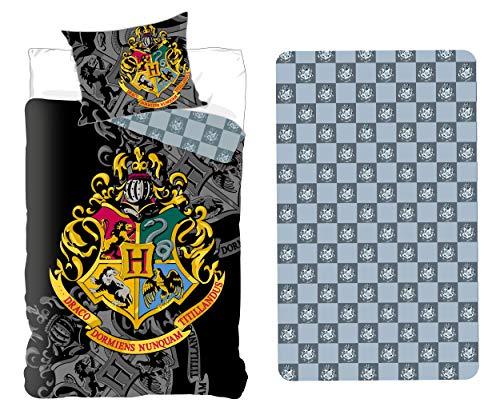 Harry Potter Set Letto Singolo 3 Pezzi Copripiumino 155x200cm + Federa 50x80cm + Lenzuola c/Angoli Cotone Biancheria da Letto Bambini Cotone