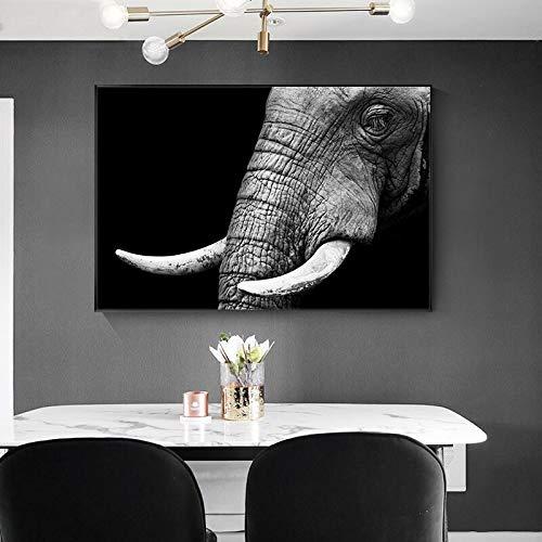 wZUN Cartel de Pintura de Lienzo de Arte de Elefante Salvaje e impresión de Imagen de Arte de Pared para Sala de Estar decoración del hogar 60x100 Sin Marco