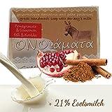 Eselsmilchseife mit 21% Eselsmilch, Olivenöl, Granatapfel und Zimt 1er Pack (1 x 100 g) -...