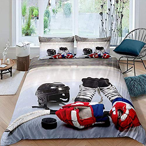 Cotton Bedding Sets King Size,Teens Ice Hockey Comforter Cover Boys Puck Duvet Cover Sports Games Set For Youth Adult Men Winter Match Grunge Quilt With 2 Pillow Cases Bedroom