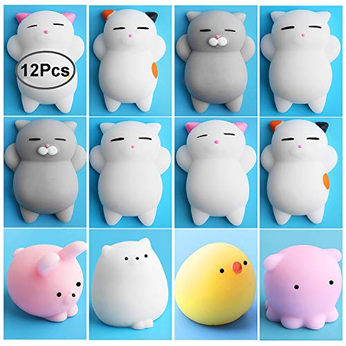 Mini Squishies Kawaii, Outee 12 Pcs Animal Squishies Mochi Squeeze Toys Soft Squishy Release Stress Animal Toys Mini Cat Bear Rabbit Chick Octopus Squishies, Random Color