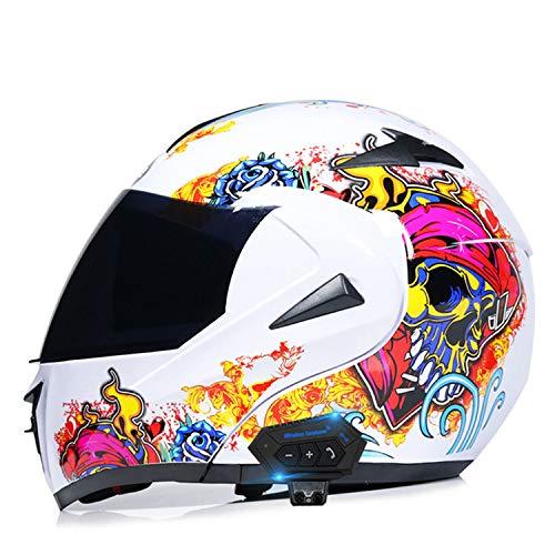 Bluetooth Casco de Moto Modular con Doble Visera Cascos de Motocicleta ECE Homologado a Prueba de Viento para Adultos Hombres Mujeres M,L