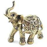 Feng Shui 9'(H) Brass Color Elegant Elephant Trunk...