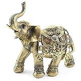 Feng Shui 9'(H) Brass Color Elegant Elephant Trunk...