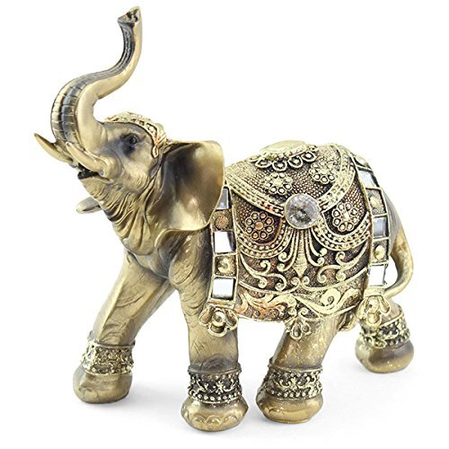 "Feng Shui 9""(H) Brass Color Elegant Elephant Trunk Statue Wealth Lucky Figurine Home Decor Gift(G16551)~We Pay Your Sales Tax"