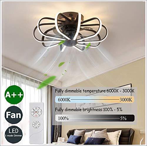 LED Deckenventilator Mit Beleuchtung Und Fernbedienung Dimmbare Windgeschwindigkeit Verstellbare Leise Ventilator Kronleuchter Kinderzimmer Industrial Fan Deckenleuchte Dekoration 112W,60cm(black)