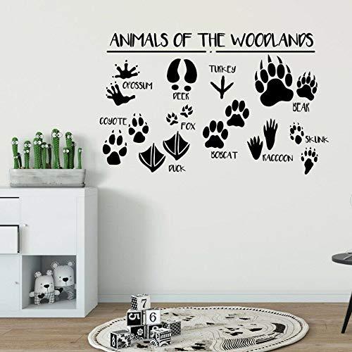 Bosque animal huellas de animales vinilo etiqueta de la pared baño decoración de la pared del hogar calcomanía de pared letras