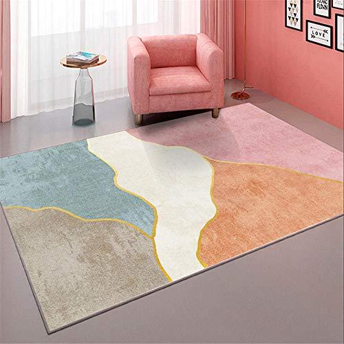 Kunsen Dormitorio Infantil Alfombra habitacion Juvenil Alfombra Azul Rosa rectángulo Moderno salón Dormitorio decoración Suave alfombras alfombras 120X160CM 3ft 11.2' X5ft 3'