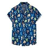 Ying Décontractées Chemises Homme Mode Impression Été Homme T-Shirt Col V Manches Courtes Plage Shirt Patte Boutonnage Hawaii Chemise Casual Mèche Homme Sweat-Shirt XH69 XL