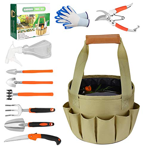 Number-one 10Pcs Garden Tools Set, Heavy Duty Gardening Tools Ergonomic, Garden Tools Kits with Tote Bag, Garden Shovel/Rake, Pruning Shears/Saws, Potted Flowers Three-Piece for Gardening