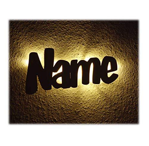 Led Wand Holz Nachtlicht Kinder-Lampe aus Wunsch Namen als Taufgeschenk Baby-Geschenke Geburtsgeschenk Kinder-Zimmer für die Mutter Paten-Tante Junge Jungs Mädchen individuell personalisiert