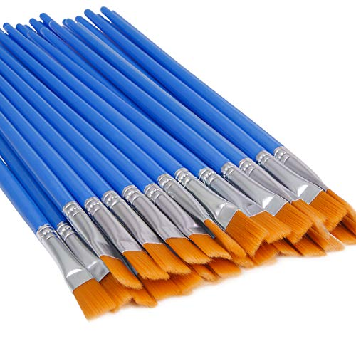 UPINS 60 Pcs Flat Paint Brushes,Small Brush Bulk for Detail Painting
