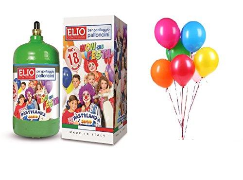 Partylandia Shop Bombola Elio usa e getta + 18 Palloncini Colori Misti Assortiti