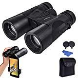 Maylehare Bird Watching Hunting Birding Binoculars for Adults Night Vision 12x42 Multi-Coated Wide Angle HD Lens with New Smartphone Photograph Adapter Waterproof BAK4 Roof Prism