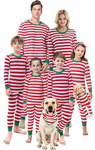 Matching Family Christmas Boys Girls Pajamas Striped Kids Sleepwear Children Clothes Size 14