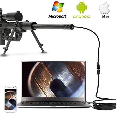 Anykit Endoscopio del fucile, mitragliatrice calibro 0,2 pollici e rilevamento canna del fucile (alta risoluzione), fotocamera a focale corta, tubo semirigido da 40 pollici per Windows, Mac e Android.