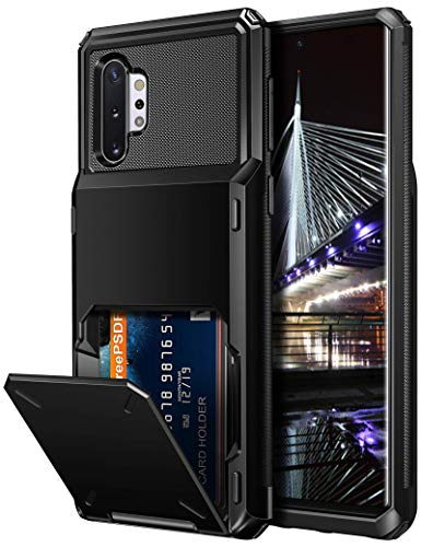 Vofolen Case for Galaxy Note 10+ 10 Plus Case Wallet 4-Slot Pocket ID Card Holder Scratch Resistant Dual Layer Protective Bumper Rubber Armor Hard Shell Cover for Samsung Galaxy Note 10 Plus Black