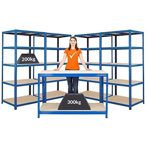 Certeo Mega Deal | Set aus 1x Werkbank (Tiefe 60 cm) und 4x Schwerlastregal (Tiefe 60 cm) | Metallregal Kellerregal Lagerregal Werkstattregal Garagenregal | Belastbar mit 1000 kg