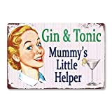 Oddss Retro Pin-up Girl Gin Tonic Cartel de chapas, Lightweight Aluminum Wall Decor Vintage Sign for...