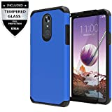 LG Stylo 4 Case, LG Stylo 4 Plus Case with Tempered Glass Screen Protector,IDEA LINE Heavy Duty Protection Hybrid Hard Shockproof Slim Fit Cover - Blue