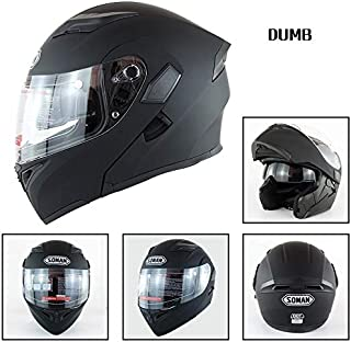 Leoie Motorcycle Helmet Unisex Double Lens Uncovered Helmet Off-Road Safety Helmet Matte Black XXL