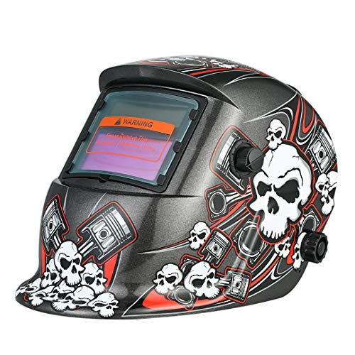 Solar Power Auto Darkening Welding Helmet Industrial Soldering Welding Mask Welder Darkens Glasses TIG MIG +Adjustable Head Band Red M67