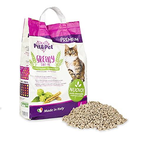Lettiera ''Greeny the Cat'' 6pz per gatti, ecologica, inodore lettiera naturale colore giallo, marrone composta da parti non edibili dell'orzo 6pz x 6lt