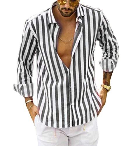 Tomwell Uomo Camicia Stampa a Righe Classico Shirts Casual Regular Fit Estive V Collo Manica Lunga Pullover Tops Grigio X-Large