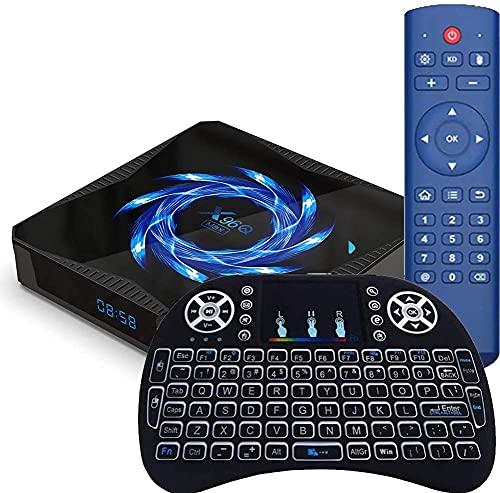 Android 10.0 TV Box, X96Q Max Smart TV Box Allwinner H616 Quad Core ARM Cortex A53 CPU, Soporte Dual 2.4GHz / 5GHz WiFi Bluetooth 5.0 4K 6K Media Player con mini teclado inalámbrico4 + 32G(Color:4+32