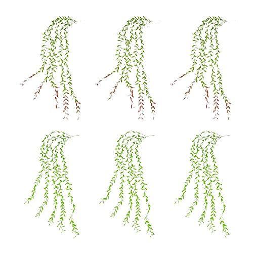 Raybre Art® Vides Colgantes Artificiales Plantas Plantas Colgantes de plástico Mimbre Artificial 6 Piezas