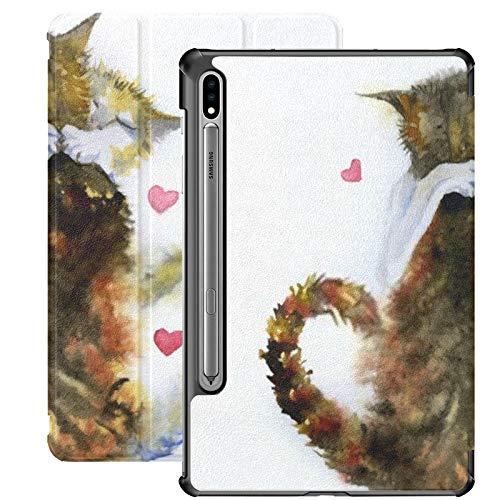 Funda Galaxy Tablet S7 Plus de 12,4 Pulgadas 2020 con Soporte para bolígrafo S, Imagen de Acuarela Gatos Abrazando Funda Protectora con Soporte Delgado para Samsung