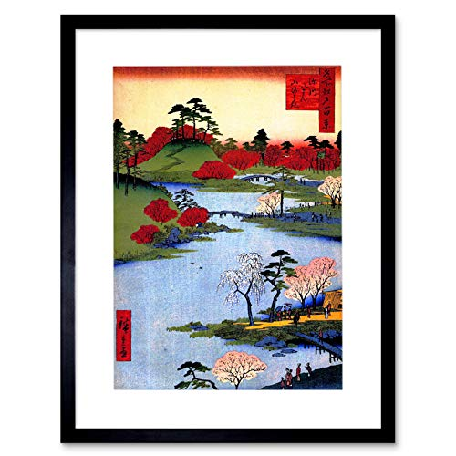 Wee Blue Coo Painting Japanese Woodblock Colourful Trees River Picture...
