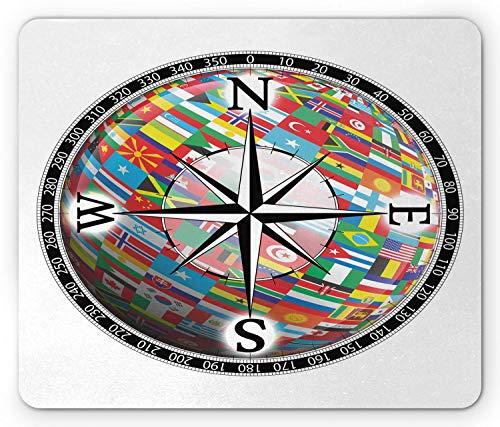 Kompas muismat, vlaggen van de bol in een kompas Windrose Diverse Naties Unity Image, muismat Zwart