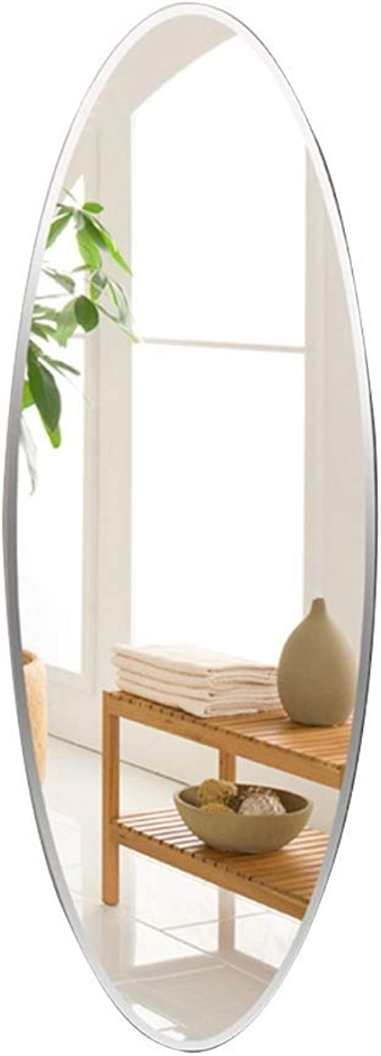 Wall-Mounted Mirrors Wall-Mounted Mirror Oval Frameless Full-Length Mirror Bedroom Decorative Mirror Entrance Mirror Floor Mirror (Silver, 40  90cm) (color   Silver, Size   90  40cm)