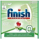Finish 0% Pastiglie Lavastoviglie, Pulizia brillante senza profumi e conservanti, pack of 6, 162 Tabs (6 x 27 Tabs)
