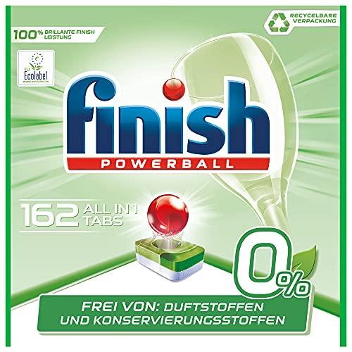 Finish 0 Prozent All in 1 Spülmaschinentabs, phosphatfrei – Geschirrspültabs gegen hartnäckigste Fettanschmutzungen – Ohne Duft- und Konservierungsstoffe – Großpackung mit 162 Finish Tabs