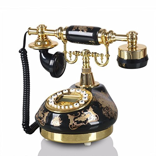 hmvlw Teléfono Retro Teléfono Negro de cerámica Hoja de Oro Pastoral Antiguo hogar del teléfono de la Vendimia de la línea Horizonte de la Sala de línea Fija de teléfono