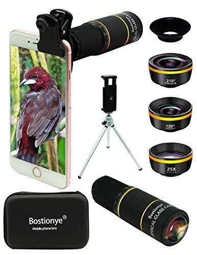 Handy Objektiv Linse Kit 4 in 1, Lens Set 22X Teleobjektiv, 25X Makro Objektiv,120° Weitwinkel,210°Fischaugenobjektiv,Telefonhalter+Stativ+Augenmuschel für IOS iPhone und meisten Android Smartphone