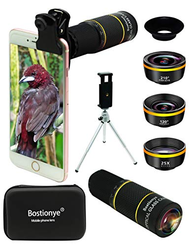 Phone Camera Lens Kit 4 in 1 for iPhone Samsung Pixel One Plus Huawei,22X Telephoto Lens,120°Super Wide Angle&25X Macro Lens,210°Fisheye Lens,Phone Holder+Tripod+Eyecup,for Most Smartphone (Golden)