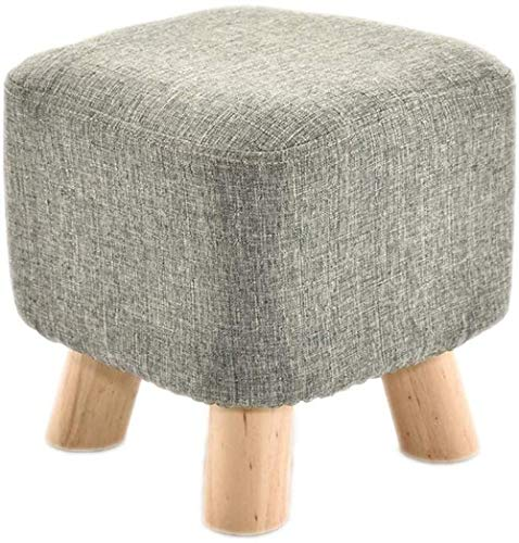 XBCDX Ottoman Stool Seat, Foot Rest Stools Wooden, Linen Fabric Padded Seat Pouf with Non-Skid Wooden Legs, Modern Footstool for Living Room Sofa Bedroom Home Office
