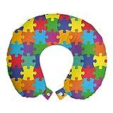 ABAKUHAUS Vistoso Cojín de Viaje para Soporte de Cuello, Jigsaw Puzzle Partes de Imagen, Viajes Siestas Leer Mirar TV, 30x30 cm, Multicolor