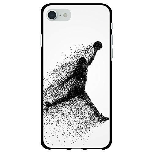 BJJ SHOP Funda Negra para [ iPhone SE 2020 ], Carcasa de Silicona Flexible TPU, diseño : Jugador de Baloncesto Abstracto Saltando