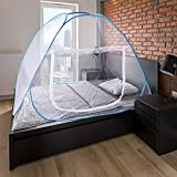 Portable Folding Net Bed with Bottom Crib for Children's Castle Design Bed Camping Travel Home (39.3 x 74.8 Inch)