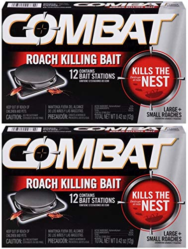 Combat Large and Small Roaches Killing Bait Stations, 12 Count (Pack of 2)...