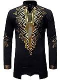Best African American Wigs - LucMatton Men's Traditional African Dashiki Luxury Metallic Gold Review