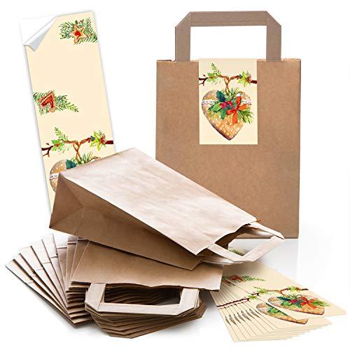 Logbuch-Verlag 10 kleine braune Weihnachtsbeutel mit Lebkuchen Herz 18 x 8 x 22 cm Geschenktüte Weihnachten Verpackung Süßigkeiten Kleinigkeiten zum Befüllen