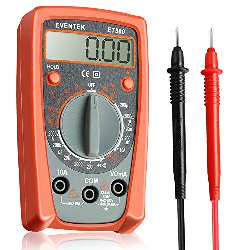 Multimètre Numérique Portable ET380 Mini Multimètre Digital avec Ecran LCD Rétroéclairé Testeur de Tension AC/DC, Courant DC, Voltage, Diode, Résistance, Sortie du Signal carré, Eventek
