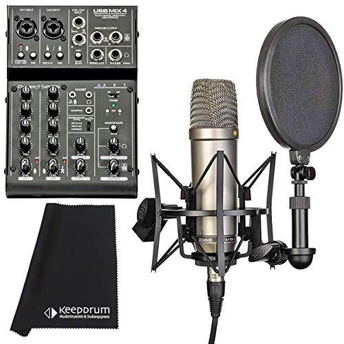 Rode NT1-A Kondensatormikrofon Set + ART USB-Mischpult + keepdrum Mikrofasertuch
