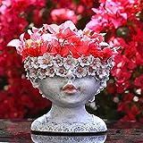 Cakunmik LED Blumentopf,Solarlampen für Außen Deko Blumenvase Gartendeko Figuren für Außen Groß Bodenvase Solar Garden dekorative Blumentopf saftige Mädchen Kopf Statue,A